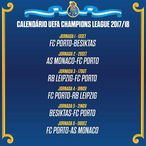 Champion Liga Calendario.Champions League 2017 18 Confira O Calendario Do Porto Na