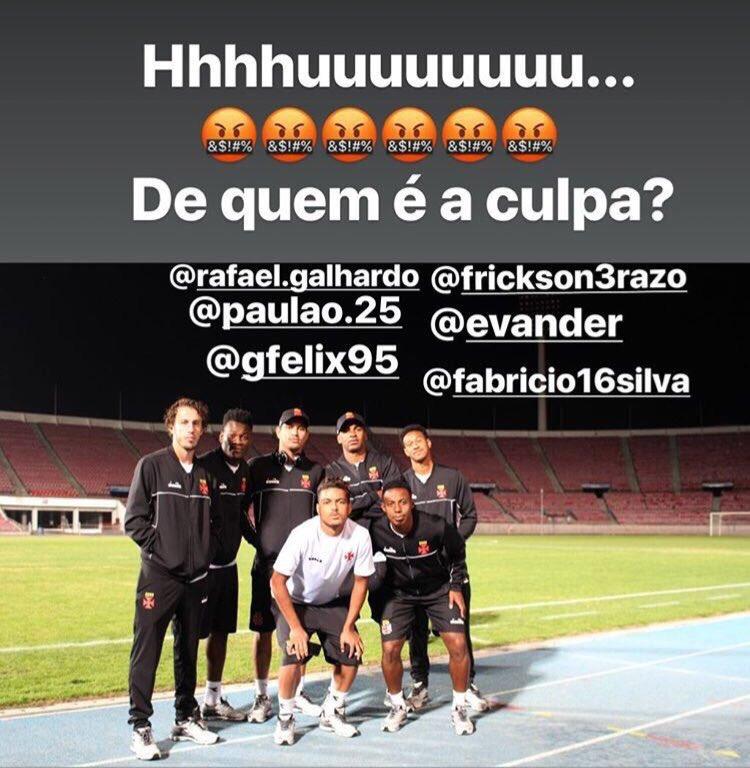 Três jogadores do Vasco que fizeram parte de polêmica foto. Fabrício deve ser o próximo.