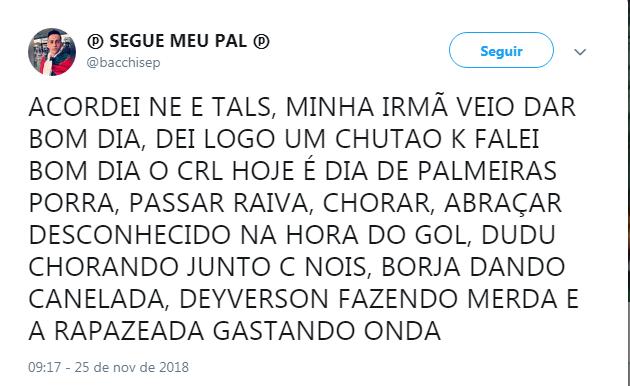 Vários torcedores do Palmeiras estão ansiosos para o jogo do título contra o Vasco.
