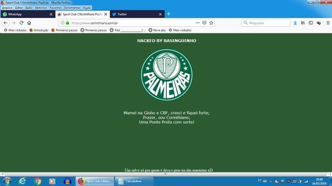 O site do Corinthians foi alvo de um ataque hacker e o escudo do Palmeiras foi exibido na página.