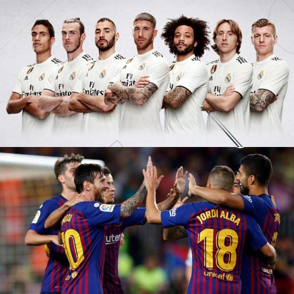 Jogadores que estarão em campo na partida Real Madrid x Barcelona