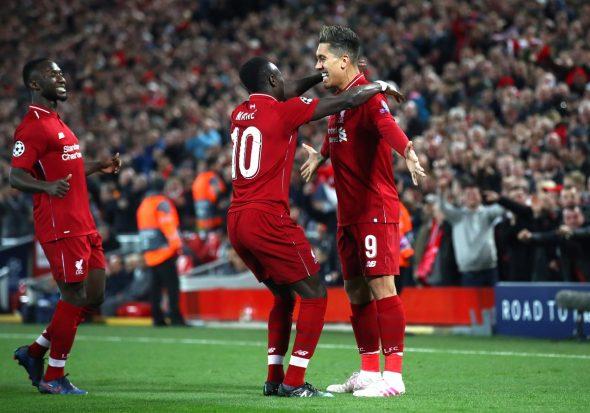 Mané e Firmino pelo Liverpool