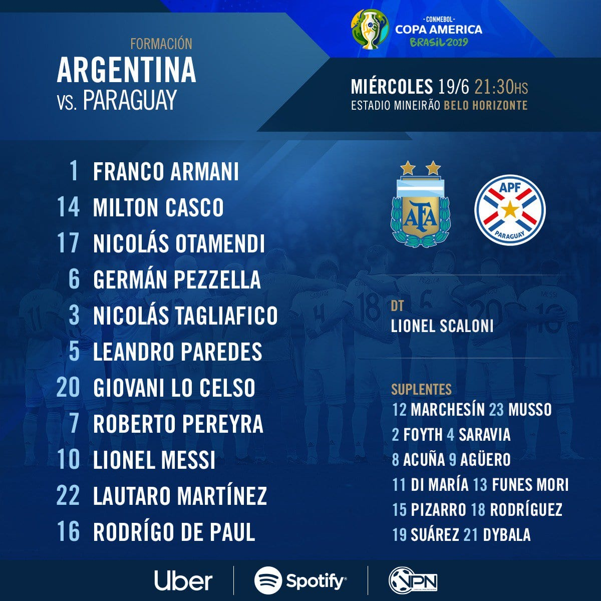 Escalação confirmada Argentina