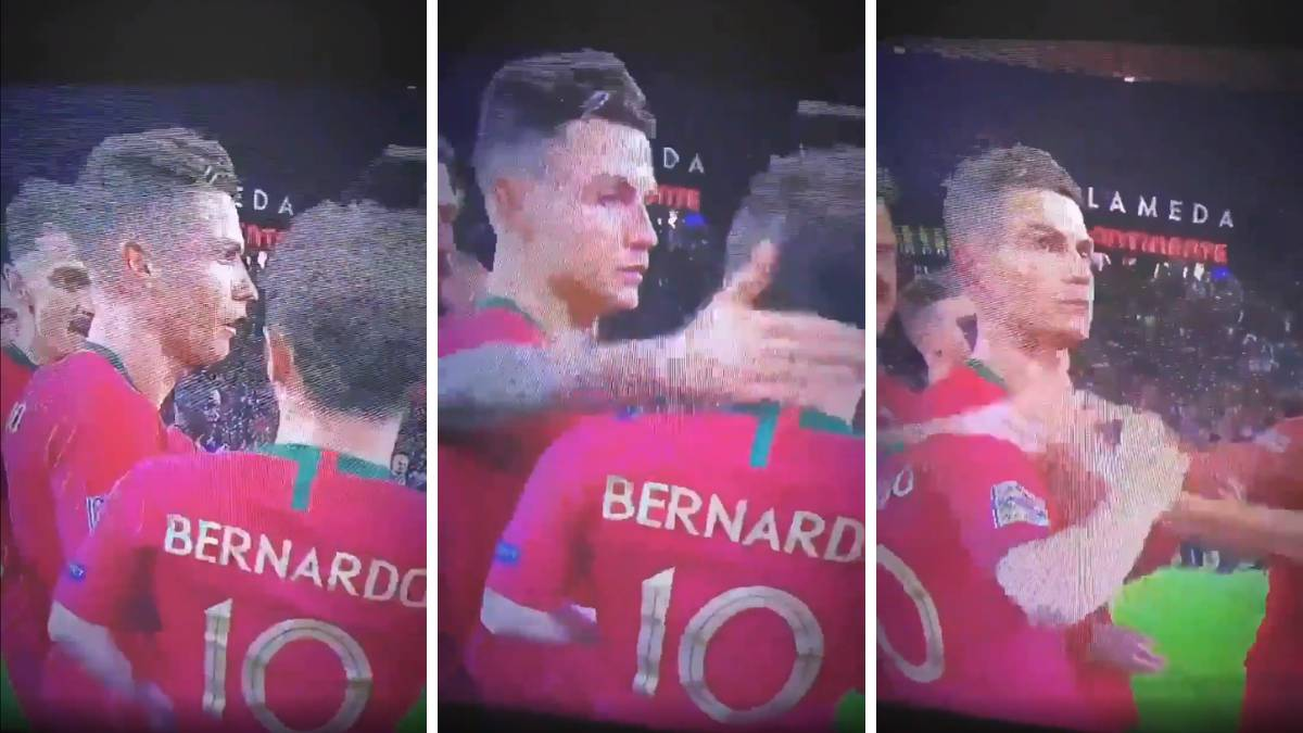Cristiano Ronaldo teve uma reação curiosa ao ver que Bernardo Silva foi eleito o melhor jogador da primeira edição da Nations League.