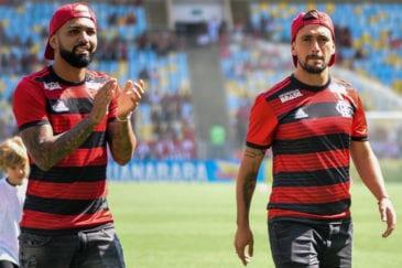 Gabigol e Arrascaeta apresentados no Flamengo