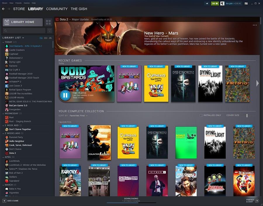Confira a nova biblioteca da Steam.