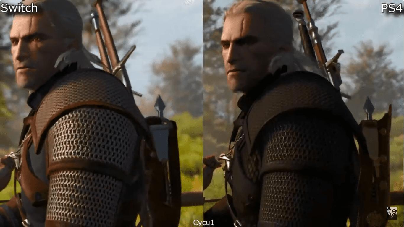 Diferença de gráfico em The Witcher 3 para Nintendo Switch.