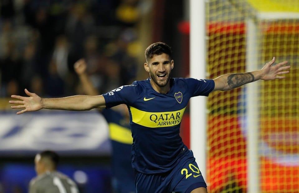 Zagueiro Lisandro López, do Boca Juniors, comemorando gol Santos Boca Junior mercado da bola