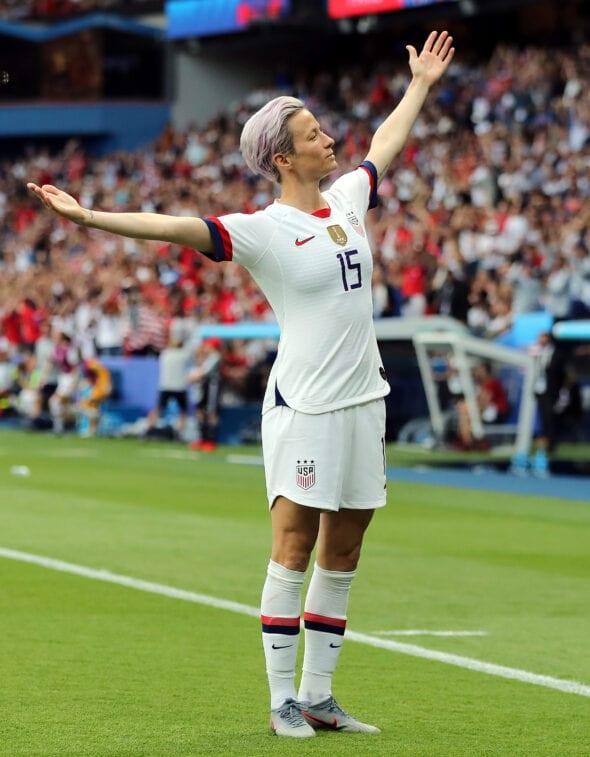 Megan Rapinoe, da seleção dos Estados Unidos, na Copa do Mundo Feminina de 2019.