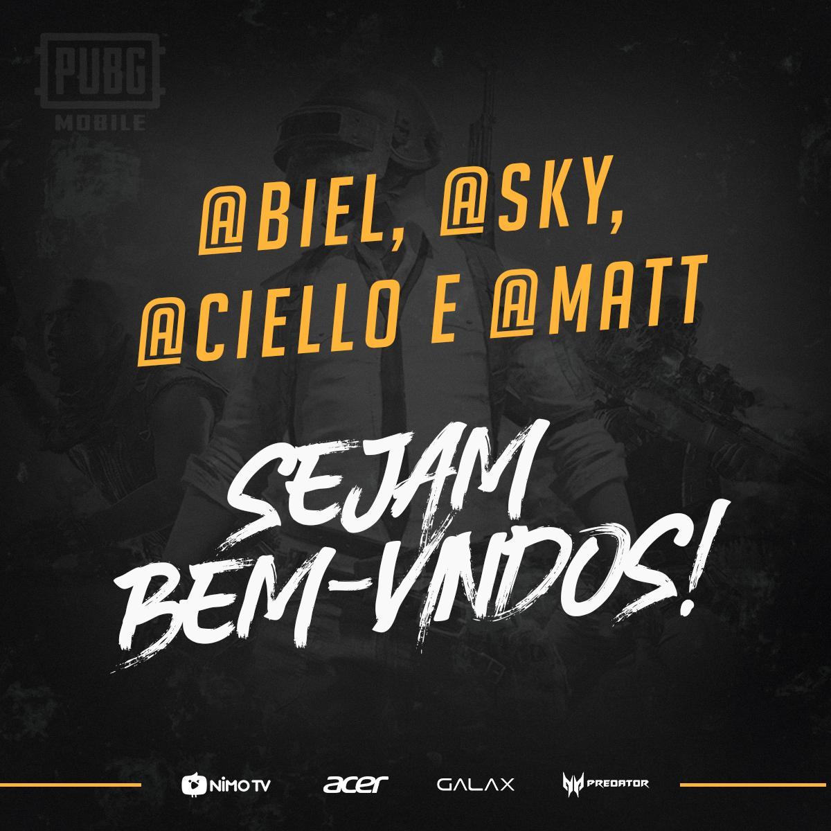 """Biel, Sky, Ciello e Matheus """"Mattzera"""" fazem parte da nova line-up da Black Dragons de PUBG Mobile"""