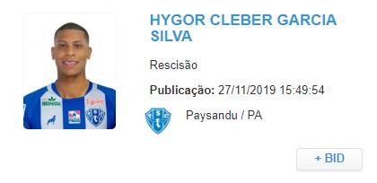 atacante Hygor Silva teve o contrato rescindido - foto - reprodução: BID/CBF