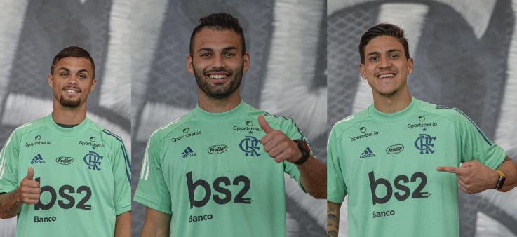 Michael, Thaigo Maia e Pedro vão ser apresentados à torcida do Flamengo antes do jogo contra o Volta Redonda.