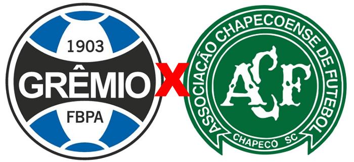 Grêmio x Chapecoense/ Copa São Paulo 2020 (Reprodução/ Arte/ Escudos/ Montagem: Adriano Oliveira)