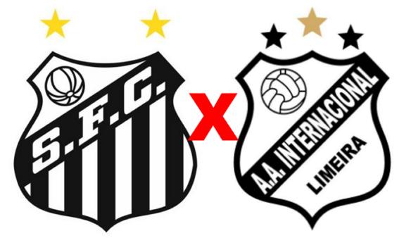 Santos x Inter de Limeira (Reprodução/ Arte/ Escudos/ Montagem: Adriano Oliveira)