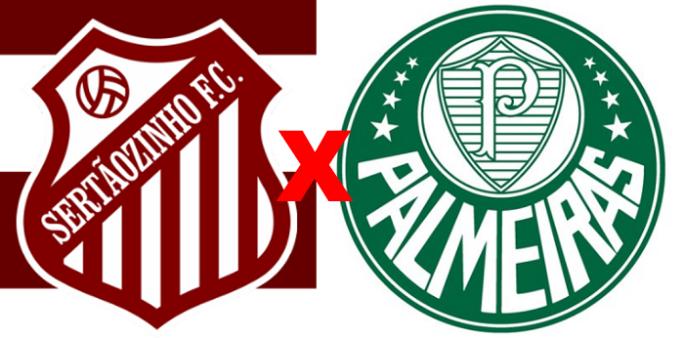 Sertãozinho x Palmeiras/ Copa São Paulo 2020 (Reprodução/ Arte/ Escudos/ Montagem: Adriano Oliveira)