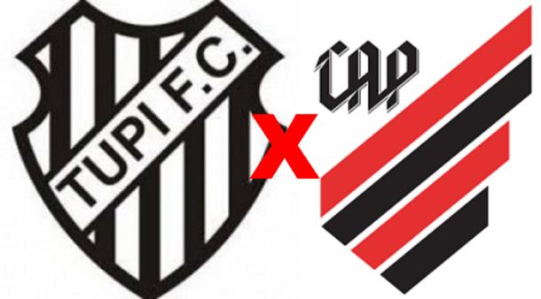 Tupi-MG x Athletico Paranaense/ Copa São Paulo 2020 (Reprodução/ Arte/ Escudos/ Montagem: Adriano Oliveira)