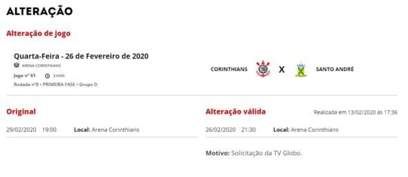 Mudança de data Corinthians x Santo André