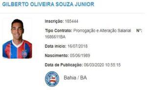 Gilberto contrato Bahia