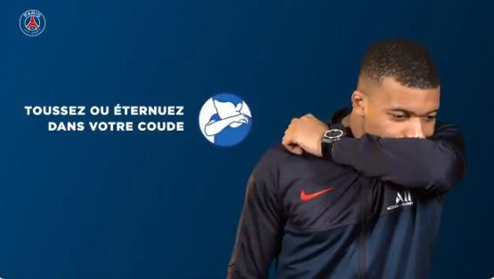 Jogadores do PSG fizeram campanha contra o coronavírus.