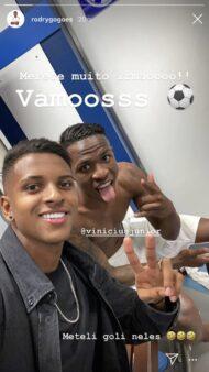 Rodrygo publicou foto com Vinícius Júnior após gol no clássico