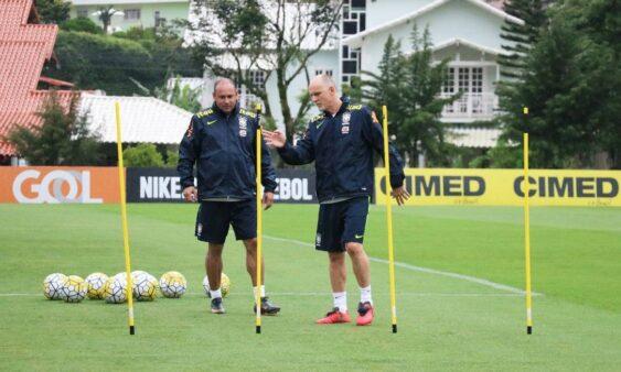Taffarel e Rogério Maia nos tempos de seleção brasileira