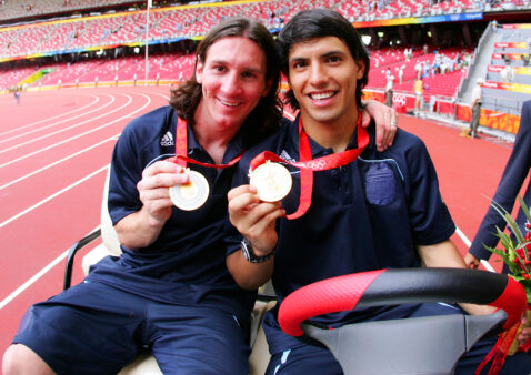 Messi e Aguero na seleção da Argentina