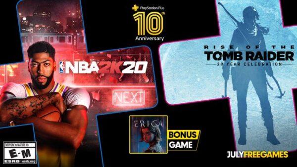 A PS Plus de julho oferece os títulos Rise of the Tomb Raider,NBA 2K20eErica