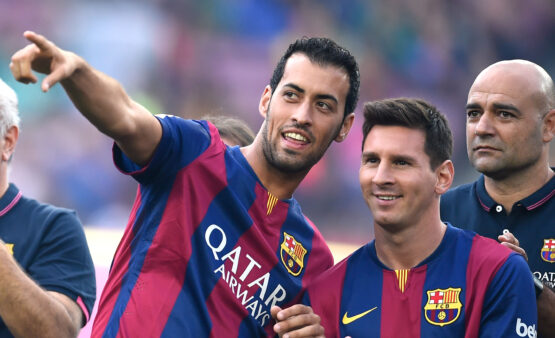 Busquets e Messi no Barcelona