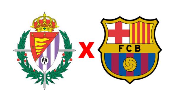 Siga Valladolid x Barcelona em tempo real (Reprodução/ Arte/ Escudos/ Montagem: Adriano Oliveira)