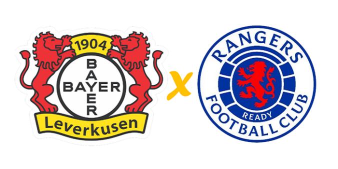 Bayer Leverkusen x Rangers/ Liga Europa (Reprodução/ Arte/ Escudos/ Montagem: Adriano Oliveira)
