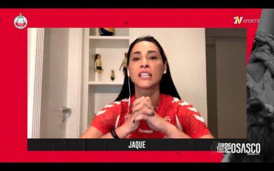 jaqueline na live de apresentacao do osasco