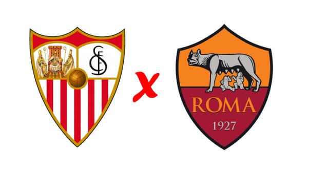 Sevilla x Roma/ Liga Europa (Reprodução/ Arte/ Escudos/ Montagem: Adriano Oliveira)