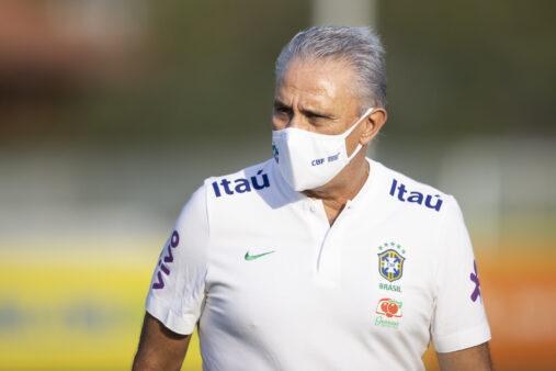 Tite em treino na Seleção Brasil