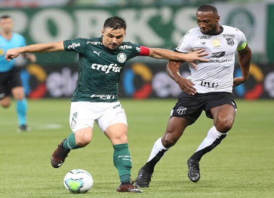 Pelo jogo de ida, disputado no Allianz Parque, o Palmeiras construiu boa vantagem ao vencer o Ceará pelo placar de 3 x 0 (Foto: Cesar Greco/ SE Palmeiras)