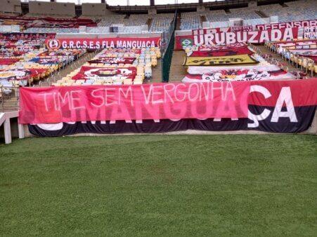 Flamengo foi alvo de protestos.