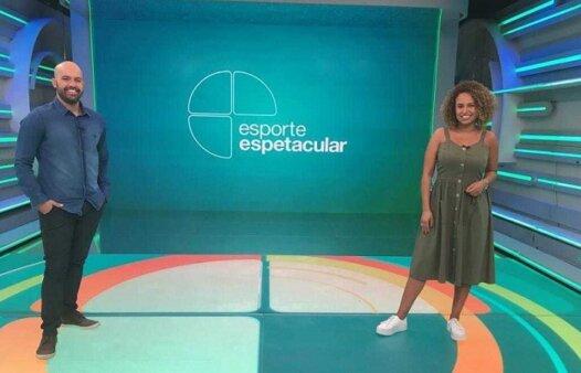 Lucas Gutierrez e Karine Alves no Esporte Espetacular, da TV Globo (Foto: Divulgação/ TV Globo)