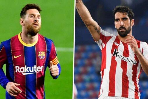 Lionel Messi, jogador do Barcelona e Raúl Garcia, jogador do Athletic Bilbao