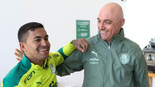 Dudu e Maurício Galiotte, presidente do Palmeiras