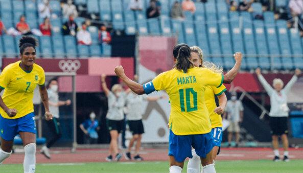 Marta na seleção feminina nos Jogos Olímpicos