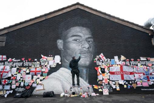 Mural de Marcus Rashford, atacante da Inglaterra