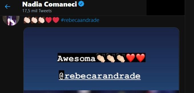 Mensagem no Twitter em que Nadia Comaneci cumprimenta Rebeca Andrade