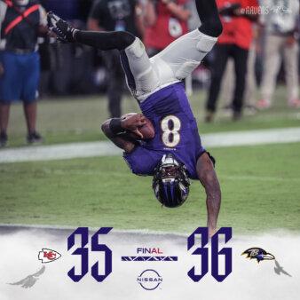 Placar de Ravens x Chiefs