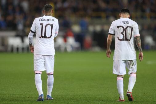 Messi e Neymar em jogo do PSG na Champions
